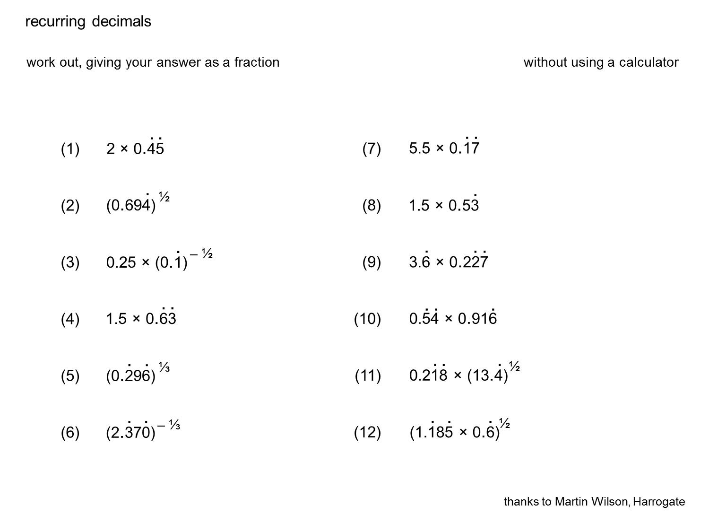 Median Don Steward Mathematics Teaching Recurring Decimals