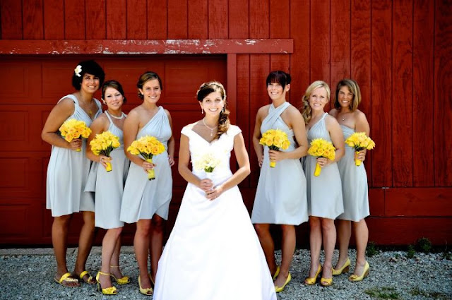 bridesmaids wear twist wrap dresses
