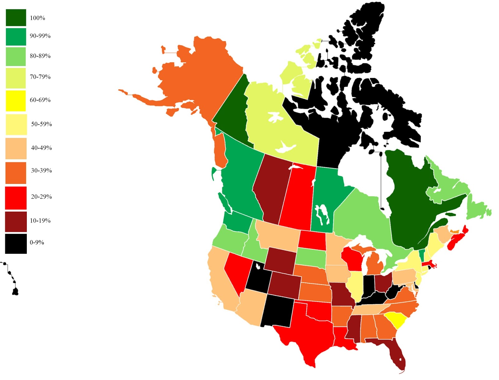 Percentage of CO2 emissions-free electricity generation in North America