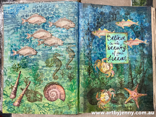 under the sea stamped mixed media artwork created by Jenny J