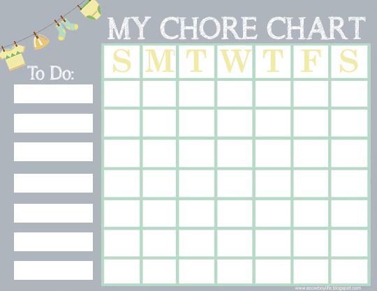 Free Printable Chore Chart For Kids A Cowboys Life