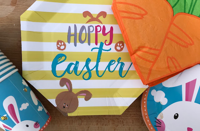 Easter bunny paper plates and cups with carrot napkins