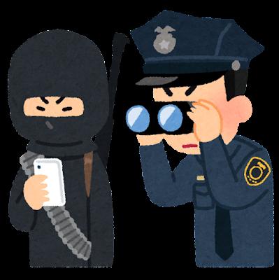 テロリストの携帯電話を覗く警察官のイラスト