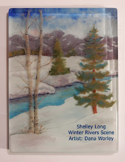 Finished fused glass Winter Rivers Scene