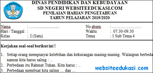 Soal PH Kelas 1 Tema 1 Subtema 4