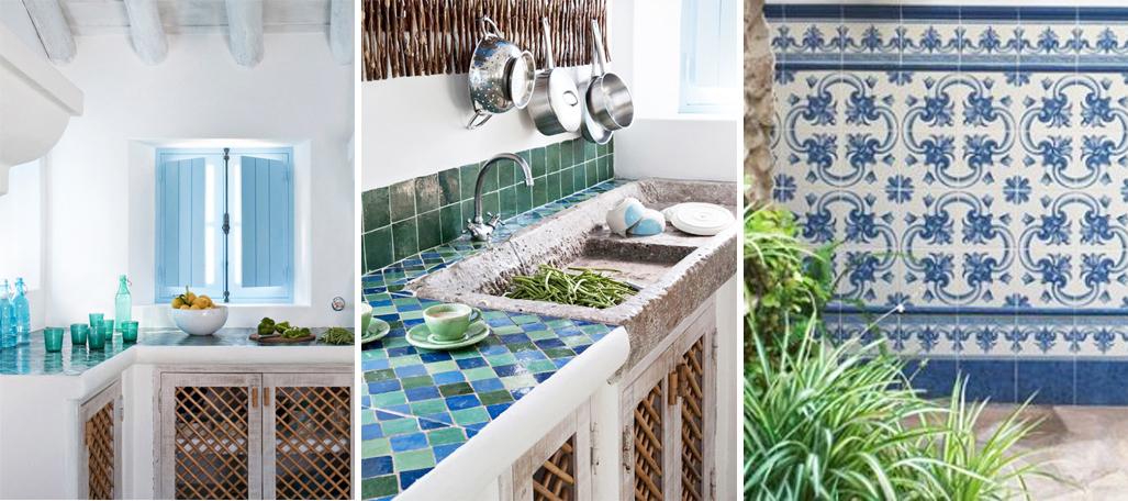 cocina andaluza decorada con azulejos árabes y zellige marroquí blanca y azul