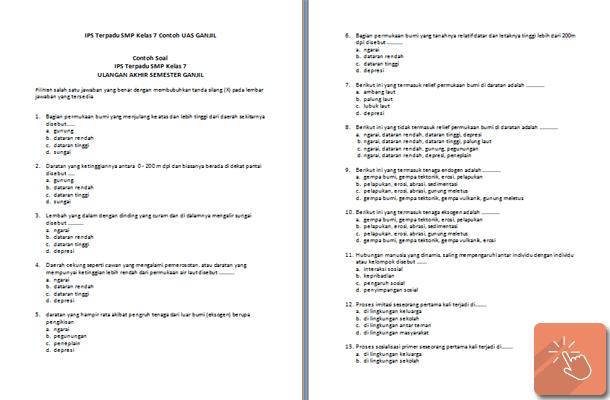 Contoh Soal Uas Ips Kelas 7 8 9 Smp Sisi Edukasi Klik