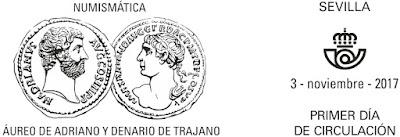 Filatelia - Numismática. Áureo de Adriano y Denario de Trajano - 2017 - Matasellos Primer día de circulación