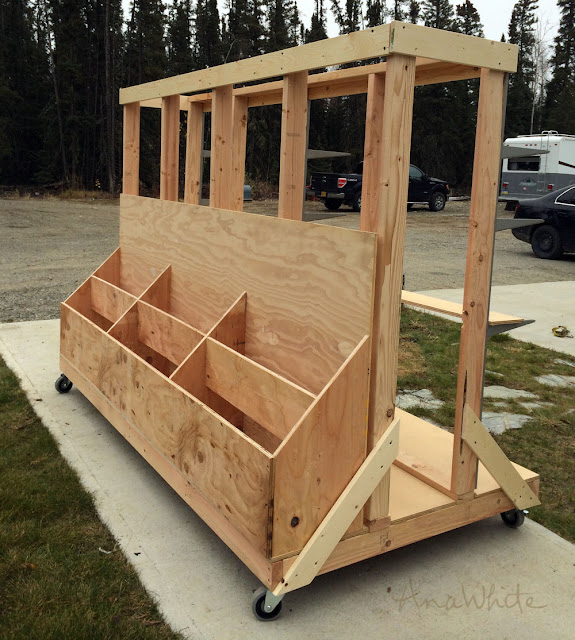 big rolling cart with free plans to store wood.