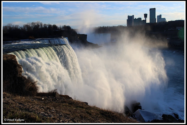 Niagara Fall in evening, New York side