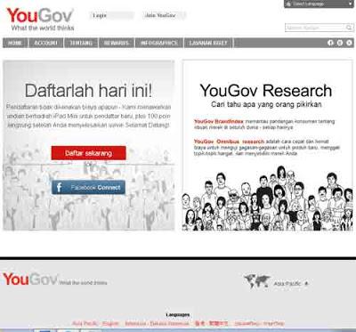 Halaman depan portal yougov.  Gambar dari internet