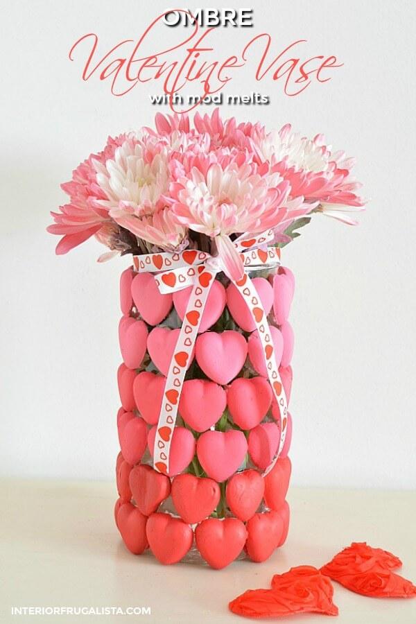 DIY Ombre Valentine Heart Vase or Candle Holder