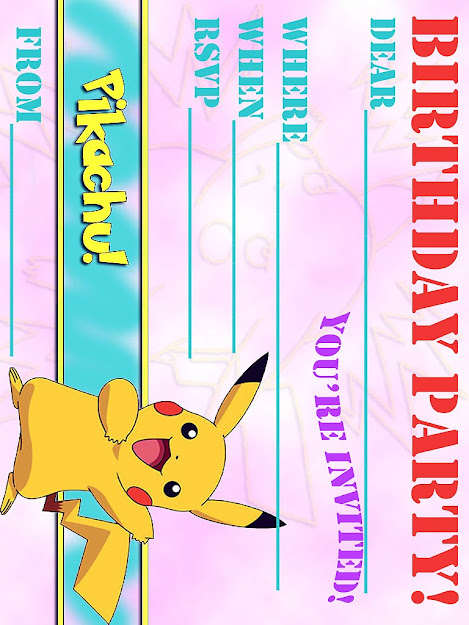 Pokemon Birthday Invitations Including Pretty Invitatios Card With Full Of  Pleasure Environment