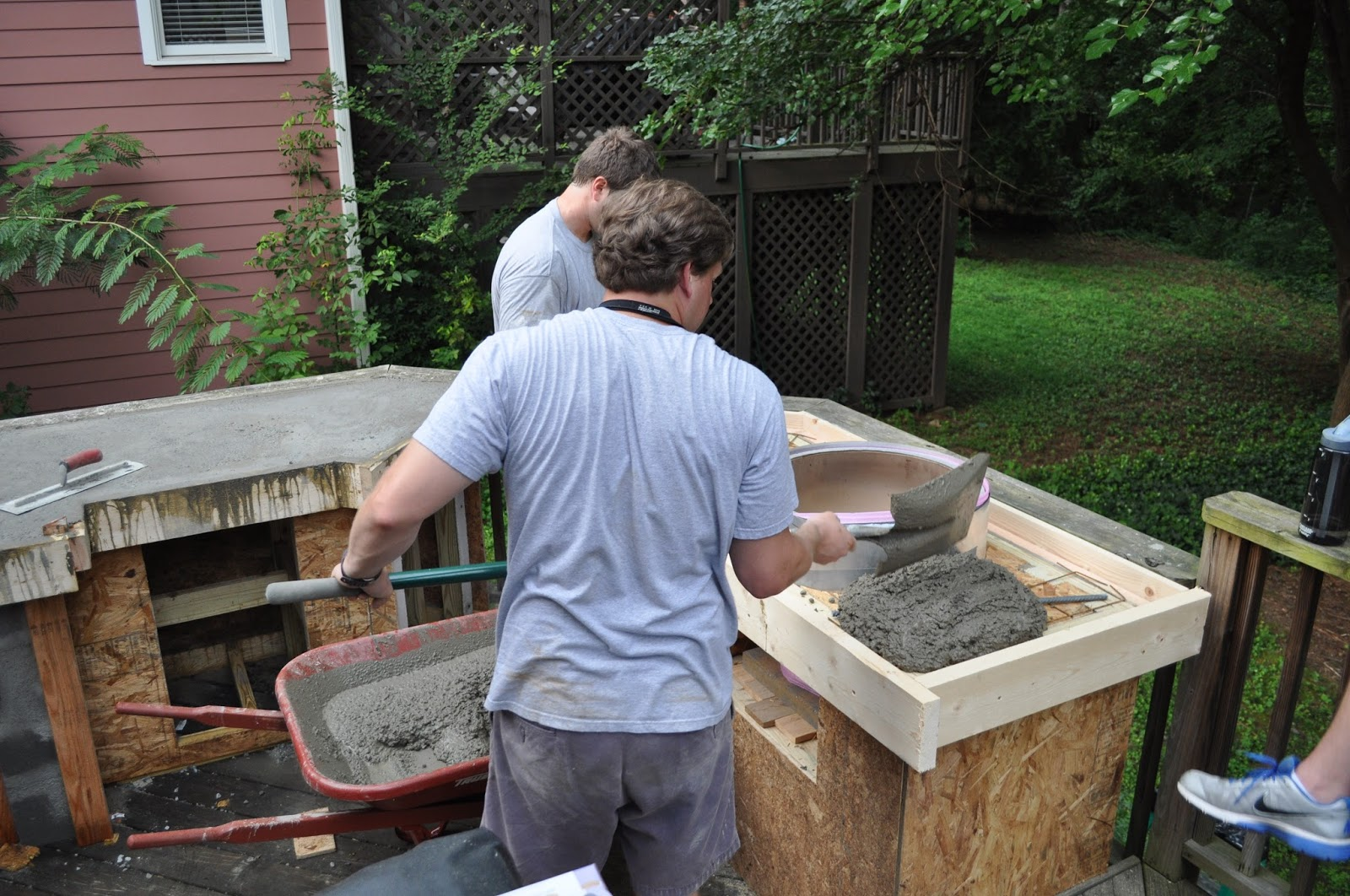 ... between the concrete and the Big Green Egg as the concrete dried. This material also helped protect the BGE as we poured and spread concrete around him. & The Cow Spot: Outdoor Kitchen Part 2