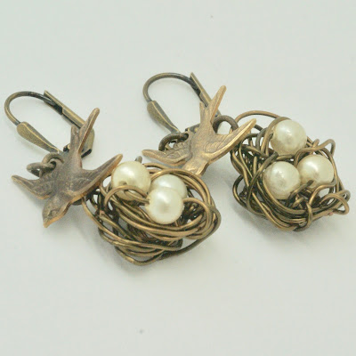Natural Brass wire nest earrings