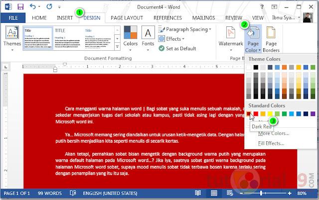 Cara mengganti warna halaman word