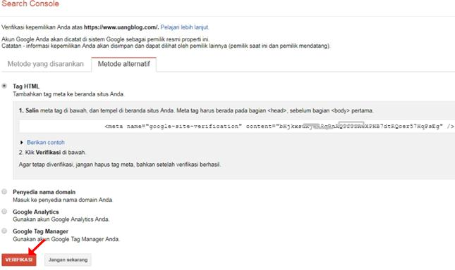Verifikasi Google Webmaster Search Console