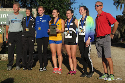 Top five in the women's 5K at the 2017 FCSAA Cross-Country Meet