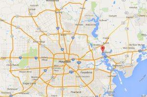 Location of the San Jacinto River near Houston.
