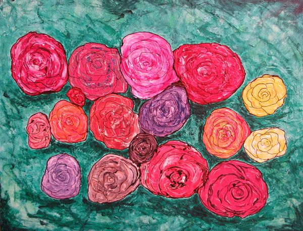 grand tableau abstrait bouquet de roses couleurs art moderne original