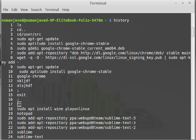 history using Linux / Ubuntu terminal