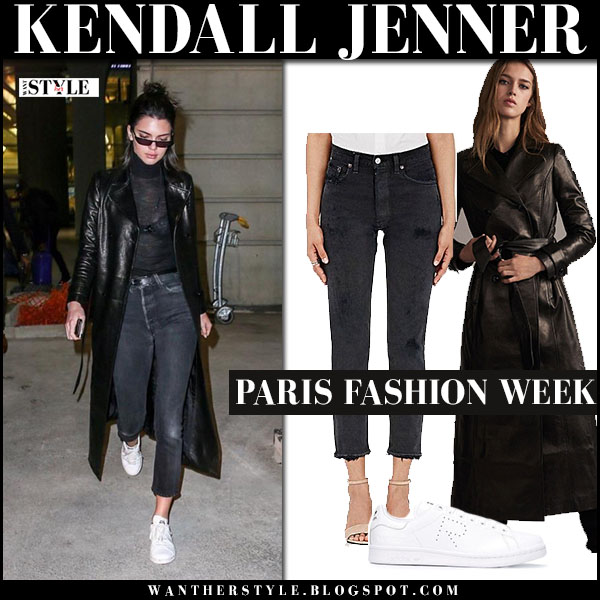 Kendall Jenner in black leather coat frame and white sneakers adidas what she wore paris fashion week streetstyle