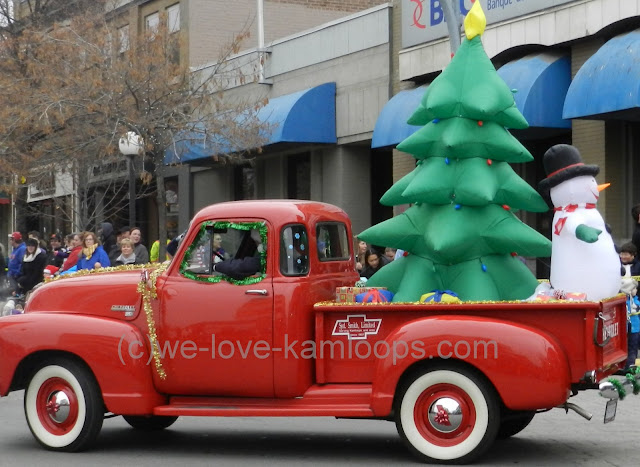 The truck drives in the Santa parade in Kamloops, BC