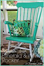 Rosemary Lane Summer Time Emerald And White Rocker