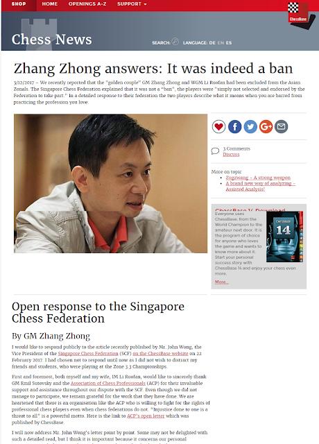 Zhang Zhong vs Singapore Chess Federation