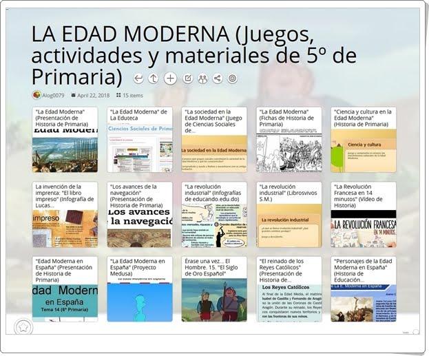 """""""15 Juegos, actividades y materiales para el estudio de LA EDAD MODERNA en 5º de Primaria"""""""
