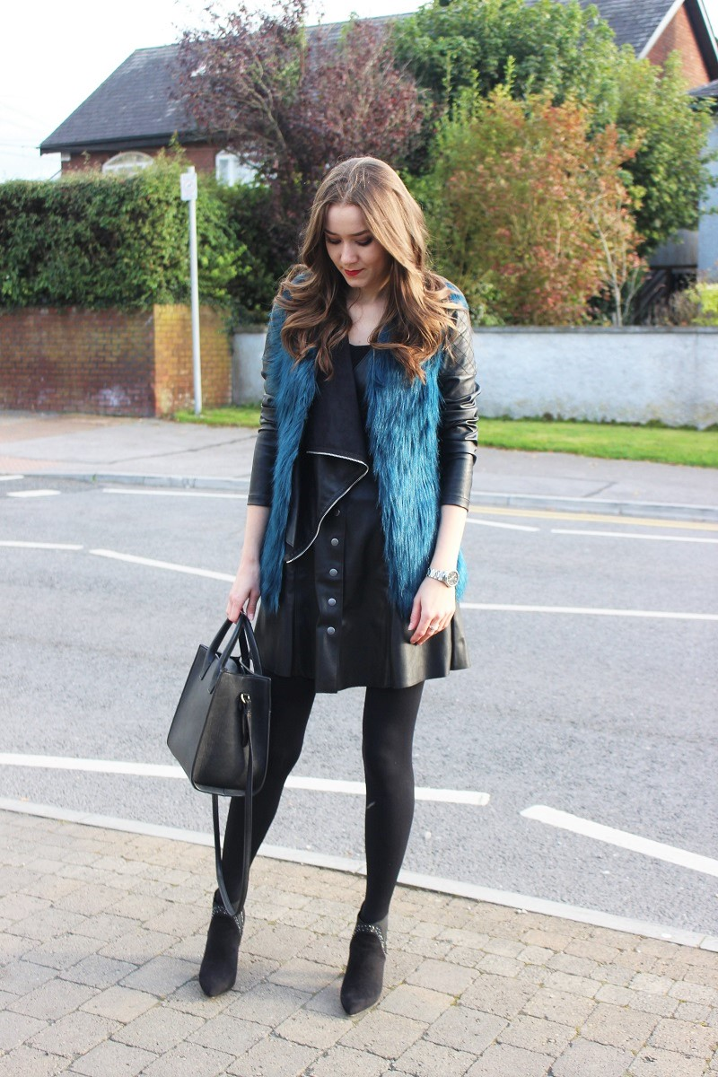 blue fur vest, fall outfit, leather short dress, lbd, mango