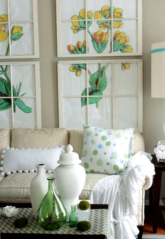 yellow flowers art - reurposed old windows, living room, white sofa, coffee table