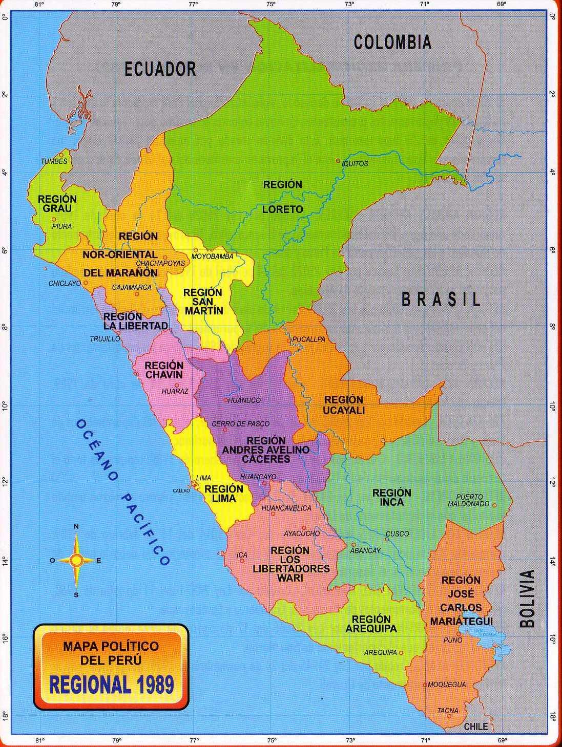 Mapa Politico Del Peru.Para Mis Tareas Mapa Politico Del Peru Regional 1989