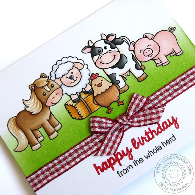 Sunny Studio Stamps: Barnyard Buddies & Missing Ewe Sheep Card by Mendi Yoshikawa