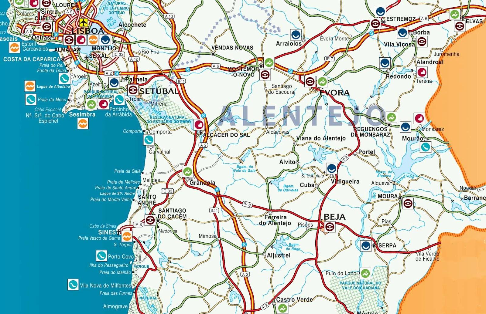 mapa das estradas do alentejo Mapas de Beja   Portugal | MapasBlog mapa das estradas do alentejo