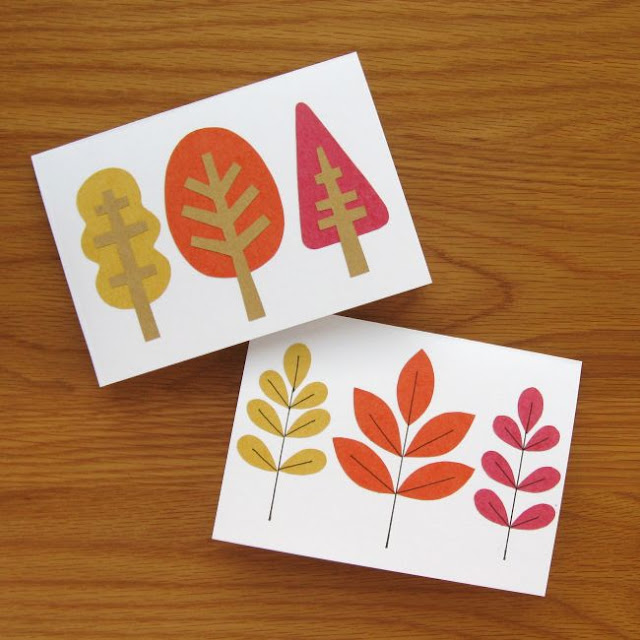 autumn leaf cards