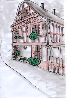ouphilie photo dessin d 39 une maison alsacienne. Black Bedroom Furniture Sets. Home Design Ideas