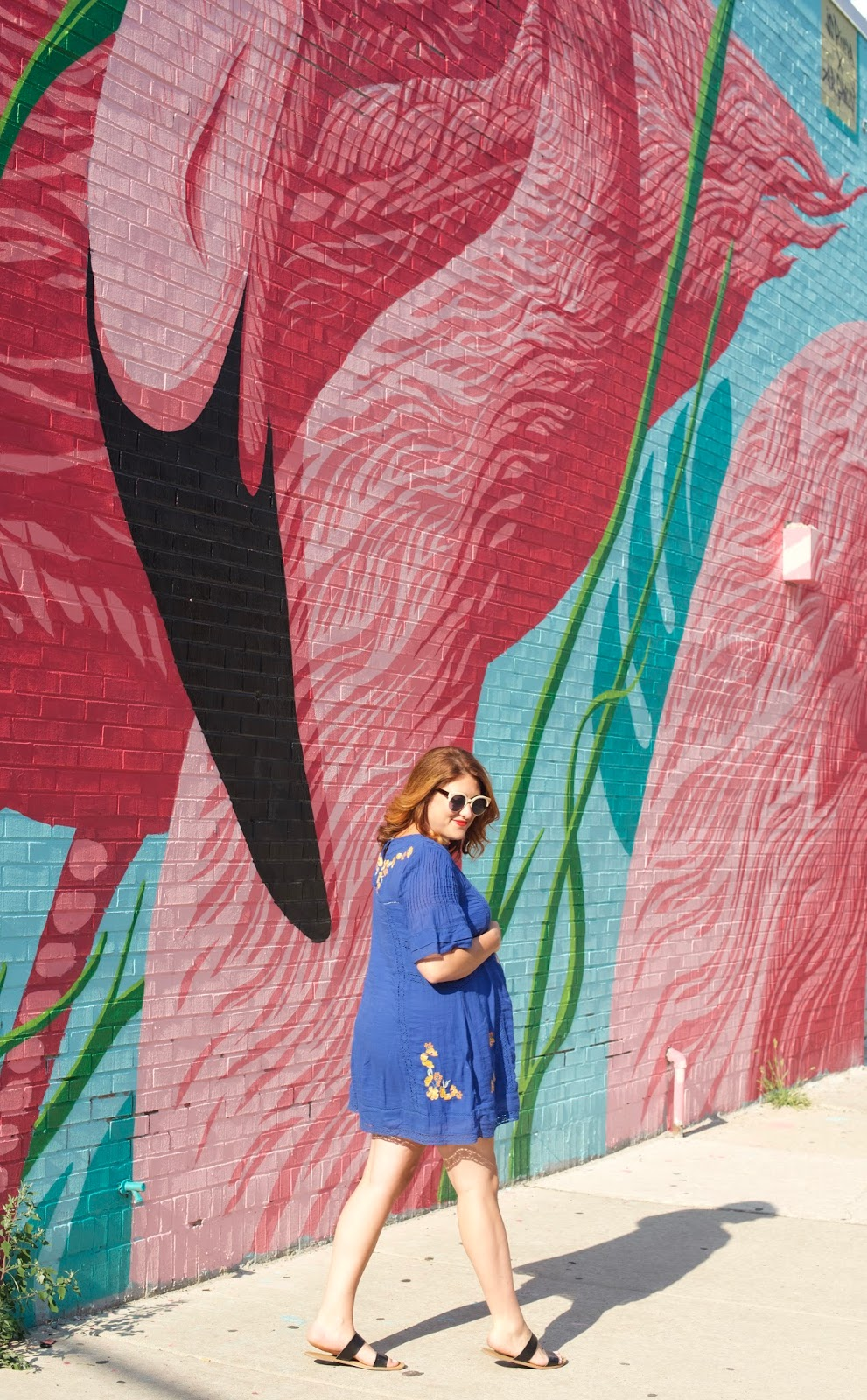 Flamingo mural wall in Chicago, maternity style, free people perfectly victorian dress