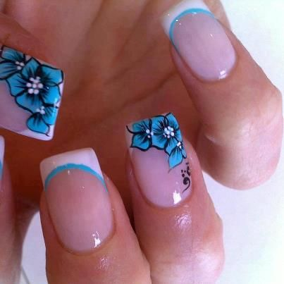 blue flower nail art design - Fashiontrends4everybody