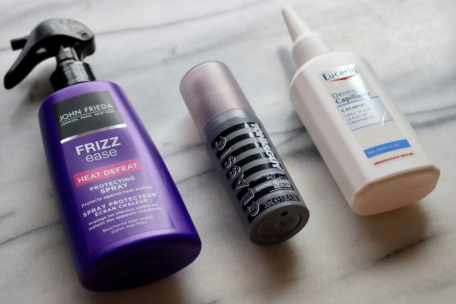 John Frieda Frizz-Ease Heat Defeat Protecting Spray, Toni & Guy Classic Shine Gloss Serum, Eucerin DermoCapillaire Calming Urea Scalp Treatment