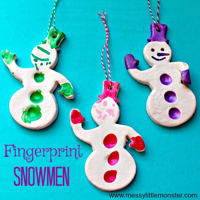 Fingerprint Snowman Christmas Ornament.  An easy kids craft and keepsake using salt dough or air dry clay. Perfect for a toddler or preschoolers Winter or Christmas project.