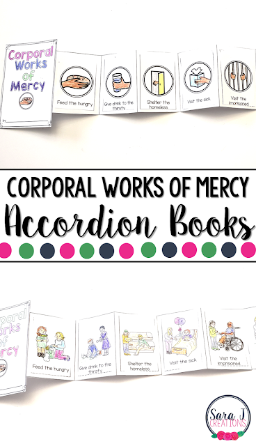 The Corporal Works of Mercy Mini Books are the perfect activity for teaching kids about Catholic works of mercy to help us take care of our neighbor.