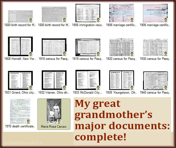 Since she doesn't seem to have become a citizen, my great grandmother's documents are complete.