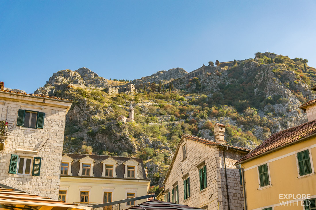 Kotor hill top fortress with Church