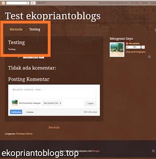 Cara m3mbuat halaman statis dan tab menu bar