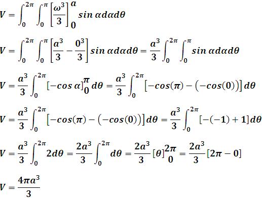 Proceso de simplificación de la integral triple en coordenadas esféricas para hallar el volumen de una esfera de radio a