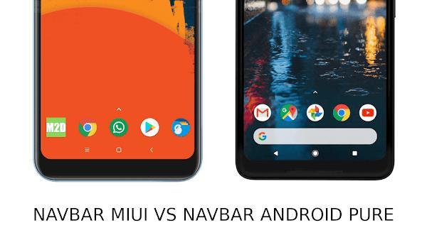 Perbedaan tata letak tombol navigasi MIUI dan Android pure