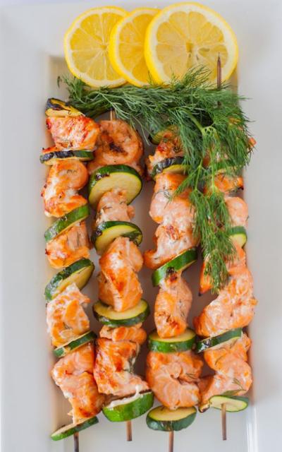 Lemon and Dill Barbecue Salmon Kabobs