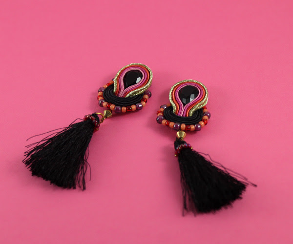 small soutache earrings, beautiful handmade jewelry, tassels, black and pink, lightweight, sutasz, wiolaj, soutache, handmade,