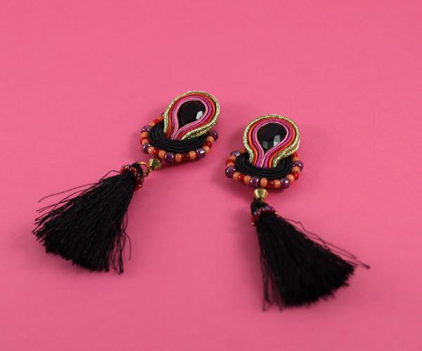 small soutache earrings, beautiful handmade jewelry, tassels, black and pink, lightweight, sutasz, wiolaj, soutache, handmade,